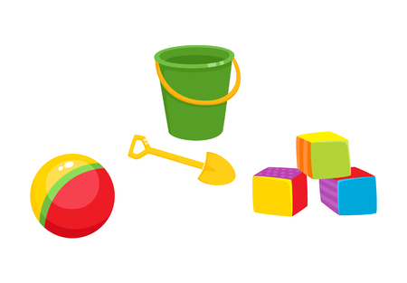 baby playing toy: Set of vector baby toys in flat style. Cubic blocks, striped rubber ball, baby bucket and sand shovel. Isolated illustration on a white background. Children education, growth and development concept.