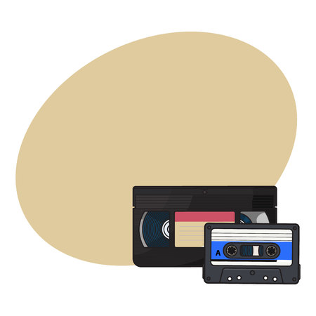 Video and audio cassettes, VHS and audiotape from 90s, sketch vector illustration with space for text. Front view of video and audio tape, cassette with empty label sticker from 90s Illustration