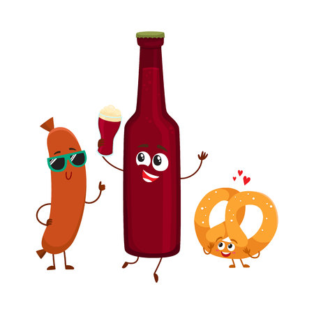 Happy beer bottle, pretzel and frankfurter sausage characters having party, cartoon vector illustration isolated on white background. Funny smiling beer bottle, pretzel, sausage characters celebrating