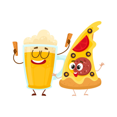 Funny beer mug and yummy pizza slice characters having fun, cartoon vector illustration isolated on white background. Funny smiling beer mug and pizza, fast food restaurant, good company