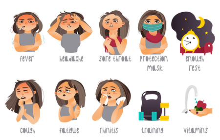Set of flu, influenza symptoms and curing - headache, rhinitis, coughing, sore throat, cartoon vector illustration isolated on white background. Set of flu symptoms and ways to prevent illness Imagens - 83922958