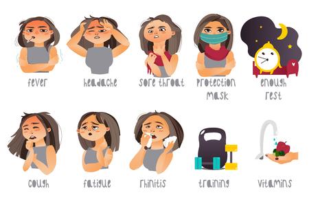 Set van griep, symptomen van griep en genezen - hoofdpijn, rhinitis, hoesten, keelpijn, cartoon vectorillustratie geïsoleerd op een witte achtergrond. Set van griepsymptomen en manieren om ziekte te voorkomen