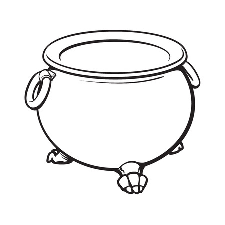 features: black and white cauldron with boiling green potion inside, sketch style vector illustration isolated on white background. Hand drawn, sketch style caldron, caulron, witchcraft accessory