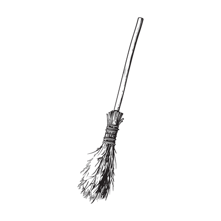 black and white old twig broom, broomstick, traditional Halloween symbol, sketch style vector illustration isolated on white background. Hand drawn, sketch style witch broom, broomstick Illustration