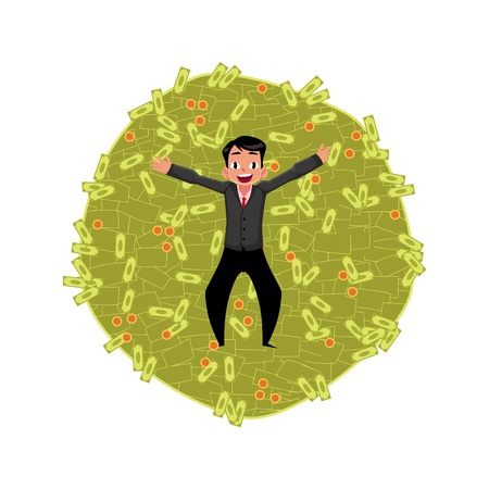 벡터 회사원 돈 더미에 누워입니다. 흰색 배경에 평면 만화 격리 된 그림. 행복 한 미소 남자 문자입니다. 돈 성공의 이익과 풍요 로움 개념 일러스트