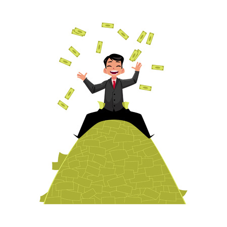 vector office worker sitting at the top of money pile. Flat cartoon isolated illustration on a white background. Happy smiling man character. Money success profit and richness concept