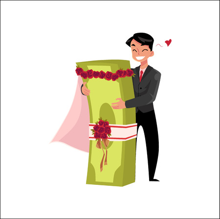 vector office worker in love with bundle of money, merrying it. Flat cartoon isolated illustration on a white background. Happy smiling man character. Money success profit and richness concept Ilustrace