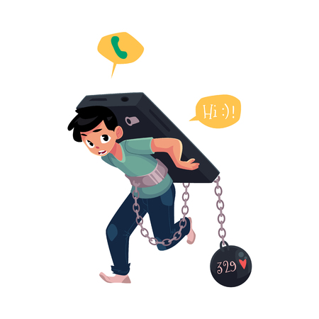 Teenage boy chained to huge smartphone, phone dependence concept, cartoon vector illustration isolated on white background. Boy chained to, carrying huge phone, dependence on likes, chatting, messages