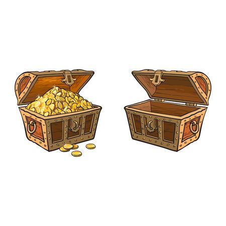 set di cassa del tesoro in legno vettoriale. Illustrazione isolato su uno sfondo bianco. Aperto, pieno di monete d'oro e scatola vuota aperta. Piatto simbolo del fumetto di avventura, pirati, rischio di profitto e ricchezza. Vettoriali