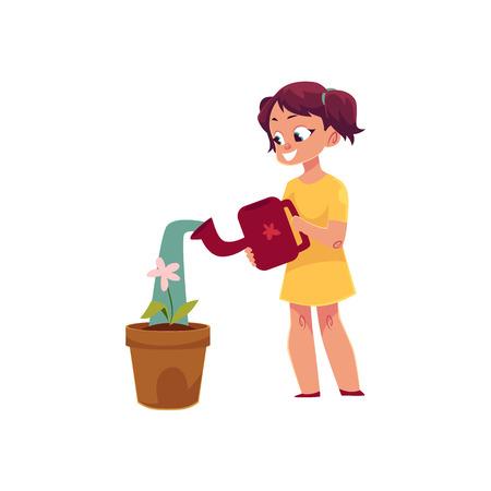 Little girl watering houseplant, pot flower, doing housework, cartoon vector illustration isolated on white background.