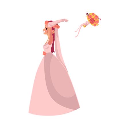 Braut, die ihre flache Karikaturillustration des Blumenstraußes lokalisiert auf einem weißen Hintergrund wirft. Hochzeit Konzept Charakter-Design Standard-Bild - 84122292