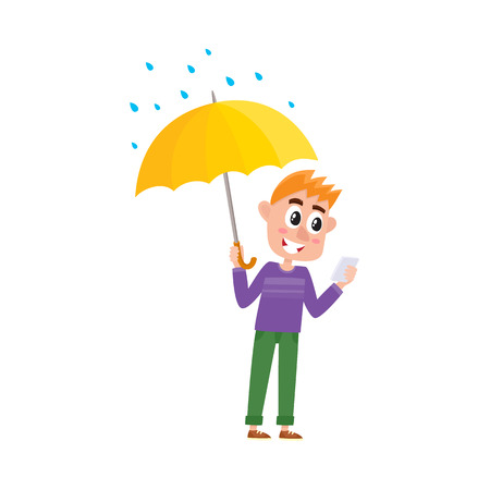vector boy child in casual clothing staying under rain keeping umbrella in hand. cartoon isolated illustration on a white background. Autumn activity kids concept Ilustração