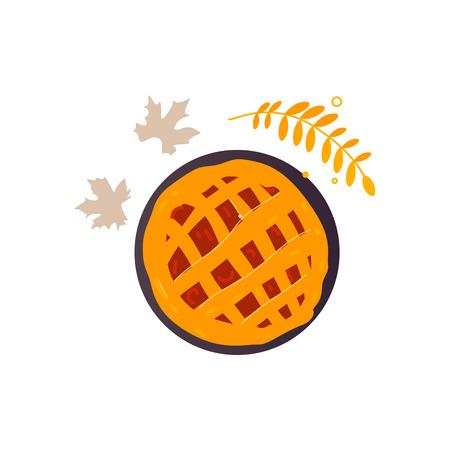 Apple fraîchement cuit, citrouille, tarte aux fruits et automne, feuilles de l'automne, illustration de vecteur de dessin animé vue de dessus isolé sur fond blanc. Pomme traditionnelle, citrouille, tarte aux fruits, symbole de la journée de Thanksgiving Banque d'images - 84562920