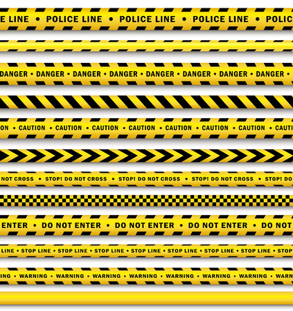 vector yellow black police tape set. Flat cartoon isolated illustration on a white background. Yellow danger tape with black stripes enclosing for forencics, investigators. Ilustração