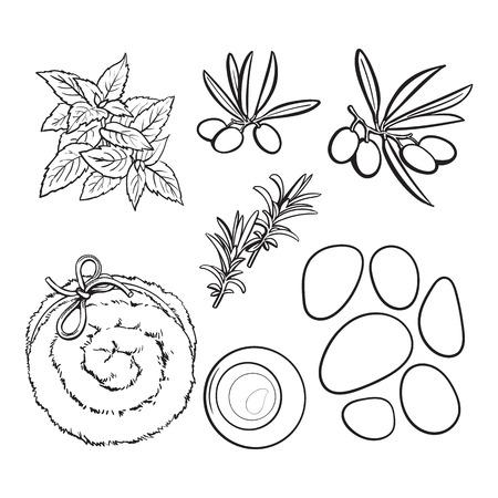 Set of spa salon accessories - basalt stones, massage oil, towel, candles, aromatic salt, black and white outline sketch vector illustration. Spa set - stones, massage oil, rolled up towel, candles