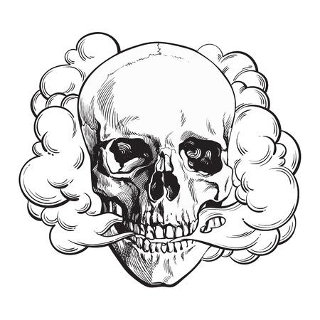 ガリガリの頭蓋骨、死、致命的な習慣の概念、背景に分離された黒と白のスケッチ スタイル ベクトル図から出てくる煙。