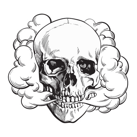 Smoke coming out of fleshless skull, death, mortal habit concept, black and white sketch style vector illustration isolated on background. Stock Illustratie