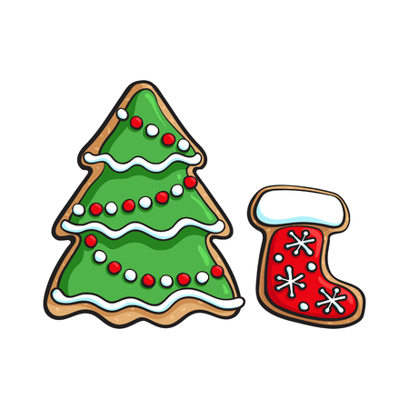 Glazed homemade Christmas tree and Santa boot gingerbread cookie, sketch style vector illustration isolated on white background. Christmas glazed gingerbread cookie in shape of fir tree and Santa boot