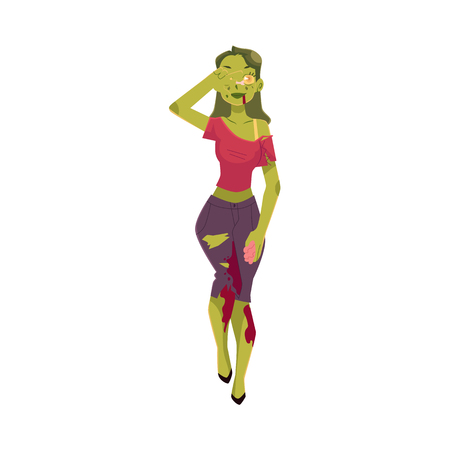 Girl, woman dressed as zombie monster, Halloween party costume, cartoon vector illustration isolated on white background. Woman, girl dressed as sppoky zombie, green paint, Halloween party costume