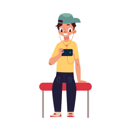 Boy, schoolboy, teenager travelling by subway, sitting, using phone, cartoon vector illustration isolated on white background. Full length portrait of teenage boy sitting in subway, using smartphone