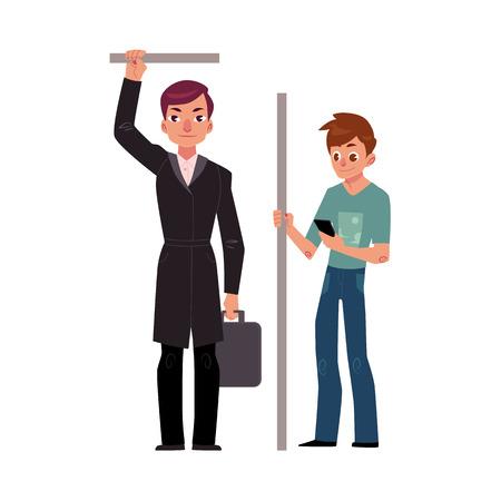 두 남자, 남성 승객 지하철 - 사업가 및 학생 스마트 폰, 흰색 배경에 고립 된 만화 벡터 일러스트 레이 션. 지하철, 학생 및 사업가에 서있는 지하철 승 일러스트
