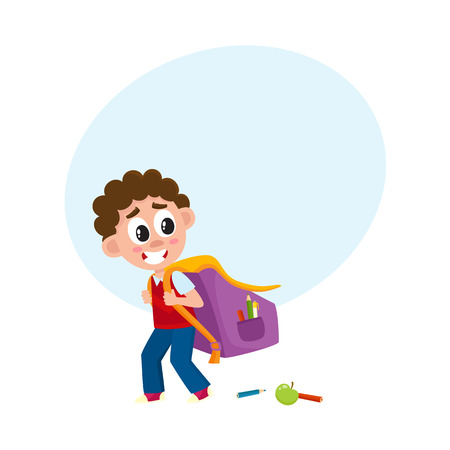 Little boy, kid going to school with big backpack, schoolbag loosing pencils on the way, cartoon vector illustration isolated on white background with speech bubble