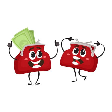 벡터 돈 지갑 문자 평면 그림 흰색 배경에 고립 된 설정합니다. 표현 의아해 하 고 돈을 웃는 지갑 빈 및 행복 전체 표현합니다. 돈, 성공한 재산, 빈곤