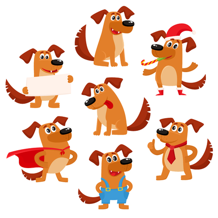 Cute brown funny dog, puppy character, cartoon vector illustration isolated on white background. Cute and funny dog, puppy character, symbol, avatar doing various actions Illustration