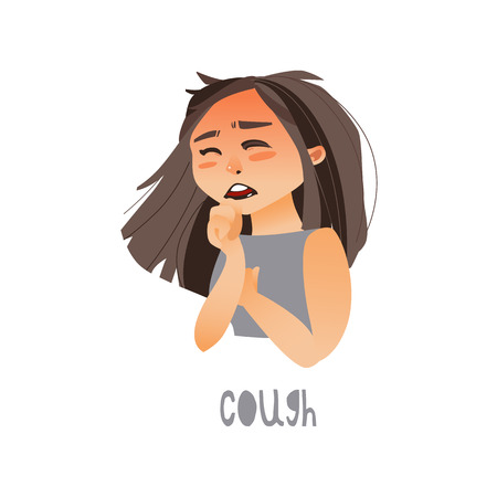 Vector young sick girl suffering from cough. Flat isolated illustration on a white background. Illness and disease symptoms concept Çizim