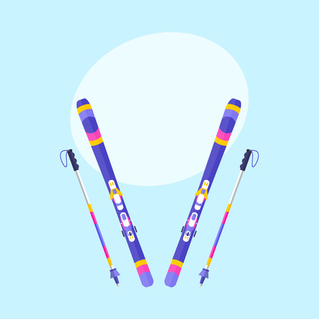 Pairs of skis and sticks, poles, flat style vector illustration with space for text. Flat vector ski and ski poles, colorful illustration