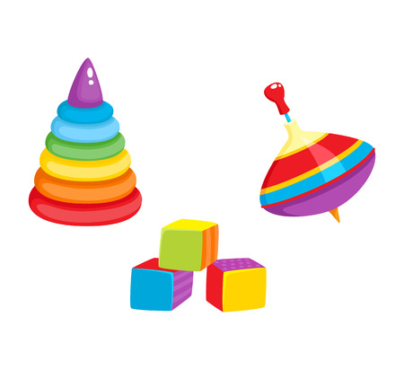 Set of vector baby toys in flat style. Cubic blocks, plastic pyramid , whirligig toy. Isolated illustration on a white background. Children education, growth and development concept.