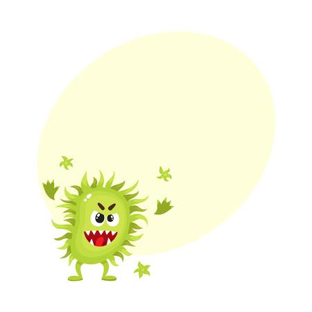 Virus feo verde, germen, bacterias carácter con rostro humano, ilustración vectorial de dibujos animados con espacio para texto. Bacterias asustadizas, virus, monstruo de gérmenes con rostro humano y dientes afilados Vectores
