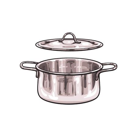 벡터 금속 크롬 요리 냄비 스케치 만화 격리 된 그림 흰색 배경에. 주방기구기구 개체 개념 일러스트