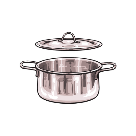 vector metal chrome cooking pot sketch cartoon isolated illustration on a white background. Kitchenware equipment utensil objects concept
