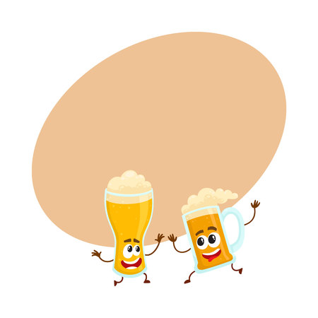 Funny beer glass and mug character with smiling human face having fun, dancing together, cartoon vector illustration with space for text. Cute and funny beer mug and glass characters, mascots