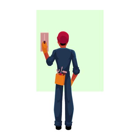 建設労働者、電気技師、ヘルメット、スーツ、コンタクトブレーカーをスイッチング技術者は漫画本文のスペースのベクトル図です。.完全な長さ,