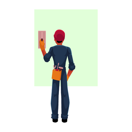 Construction worker, electrician, technician in hardhat and jumpsuit switching contact breaker, cartoon vector illustration with space for text. . Full length, rear view portrait of electrician Illustration