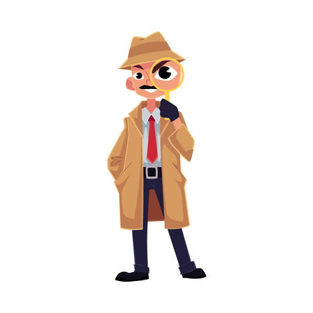 Comic style detective character looking through magnifying glass, cartoon vector illustration isolated on white background. Full length portrait of funny detective character looking through magnifier