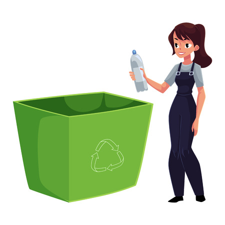Young woman throwing plastic bottle in trash, garbage recycling concept, cartoon vector illustration isolated on white background. Woman putting plastic bottle into trash bin, garbage collection 版權商用圖片 - 84562927
