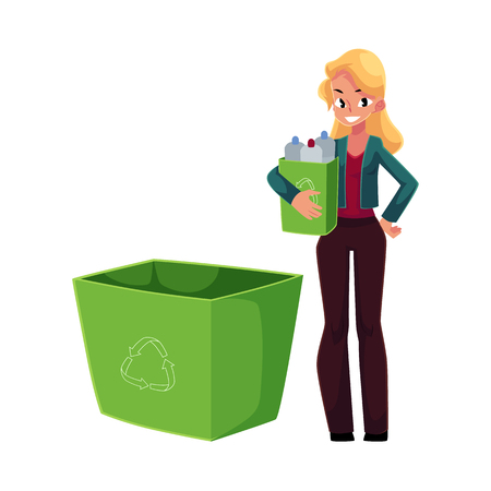 Young woman holding box of plastic bottles, garbage recycling concept, cartoon vector illustration isolated on white background. Full length portrait of woman throwing plastic bottles into trash bin 向量圖像