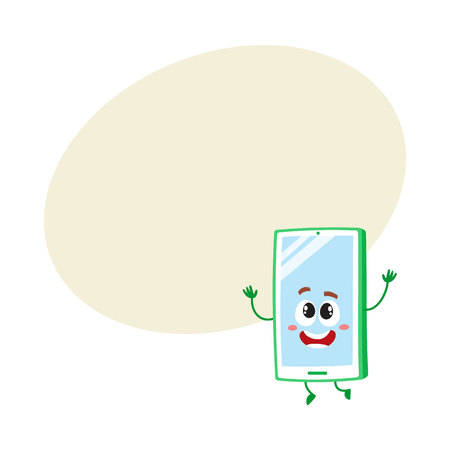 Funny cartoon mobile phone, smartphone character raising hands in awe and delight.
