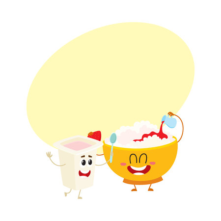 Smiling bowl of cottage cheese and yogurt cup characters. Иллюстрация