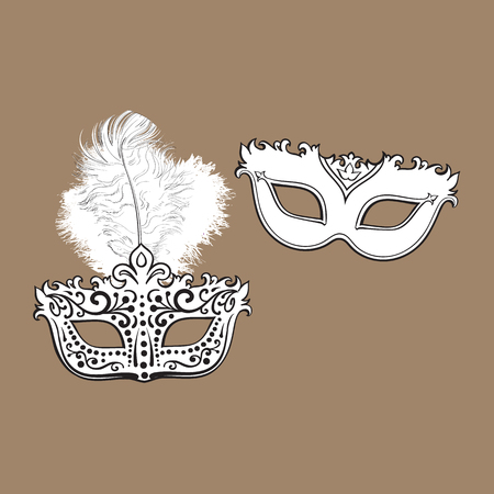 Two decorated Venetian carnival masks, one with feathers, another with ornaments.