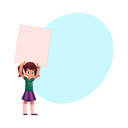 Little girl holding blank empty poster.