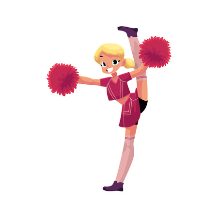 Smiling cheerleader character dancing with pom-poms doing splits. Illustration