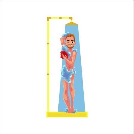 Uomo con baffi e barba tenendo doccia con acqua corrente. Archivio Fotografico - 84061875