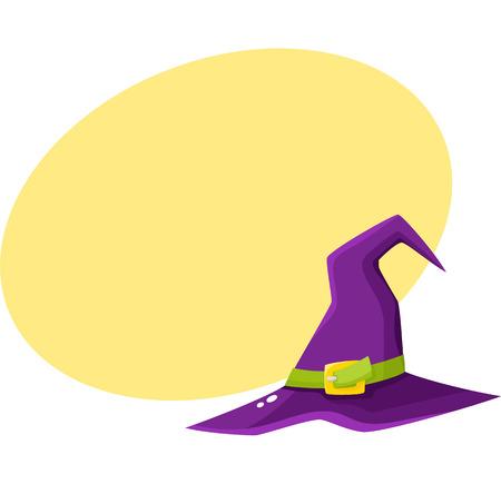 Purpere heksspitse hoed. Stock Illustratie