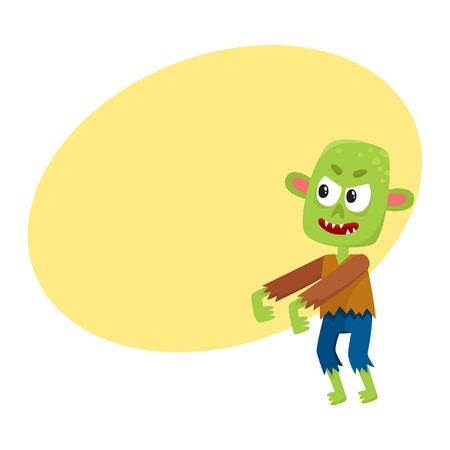 Scary little green zombie monster in rags. Illustration