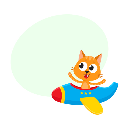 Cute funny cat pilot character flying on airplane.