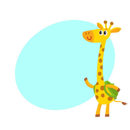 rucksack: Cute little giraffe animal student character with backpack, back to school concept, cartoon vector illustration with space for text. Little giraffe student with backpack, greeting gesture